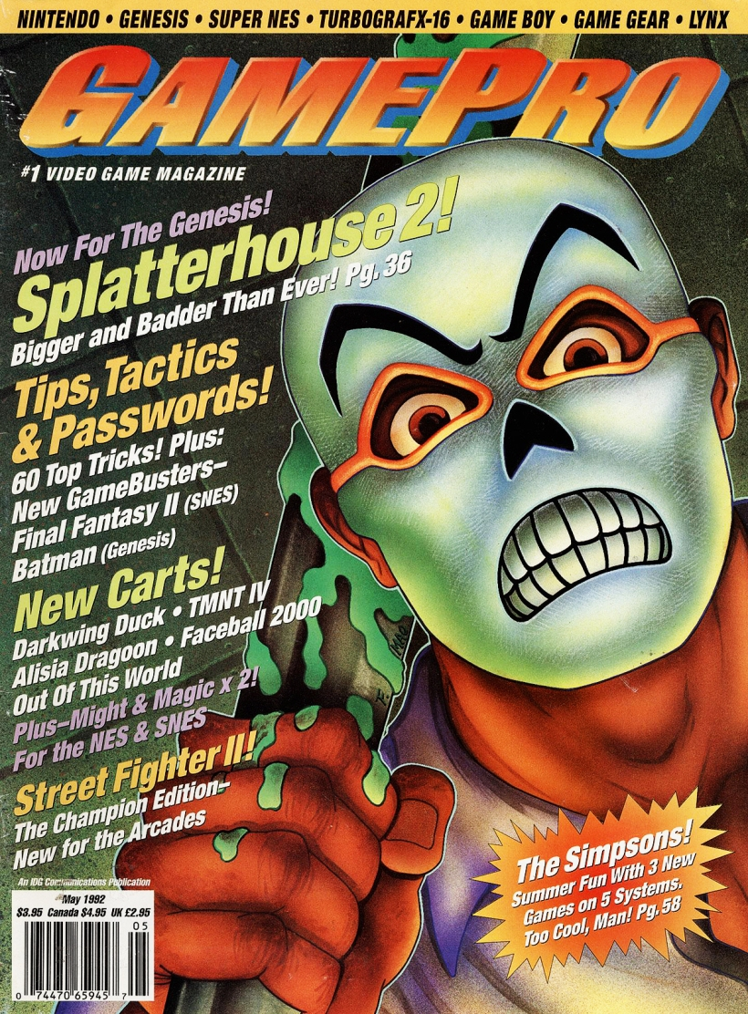 Gamepro May 1992 Splatterhouse Cover