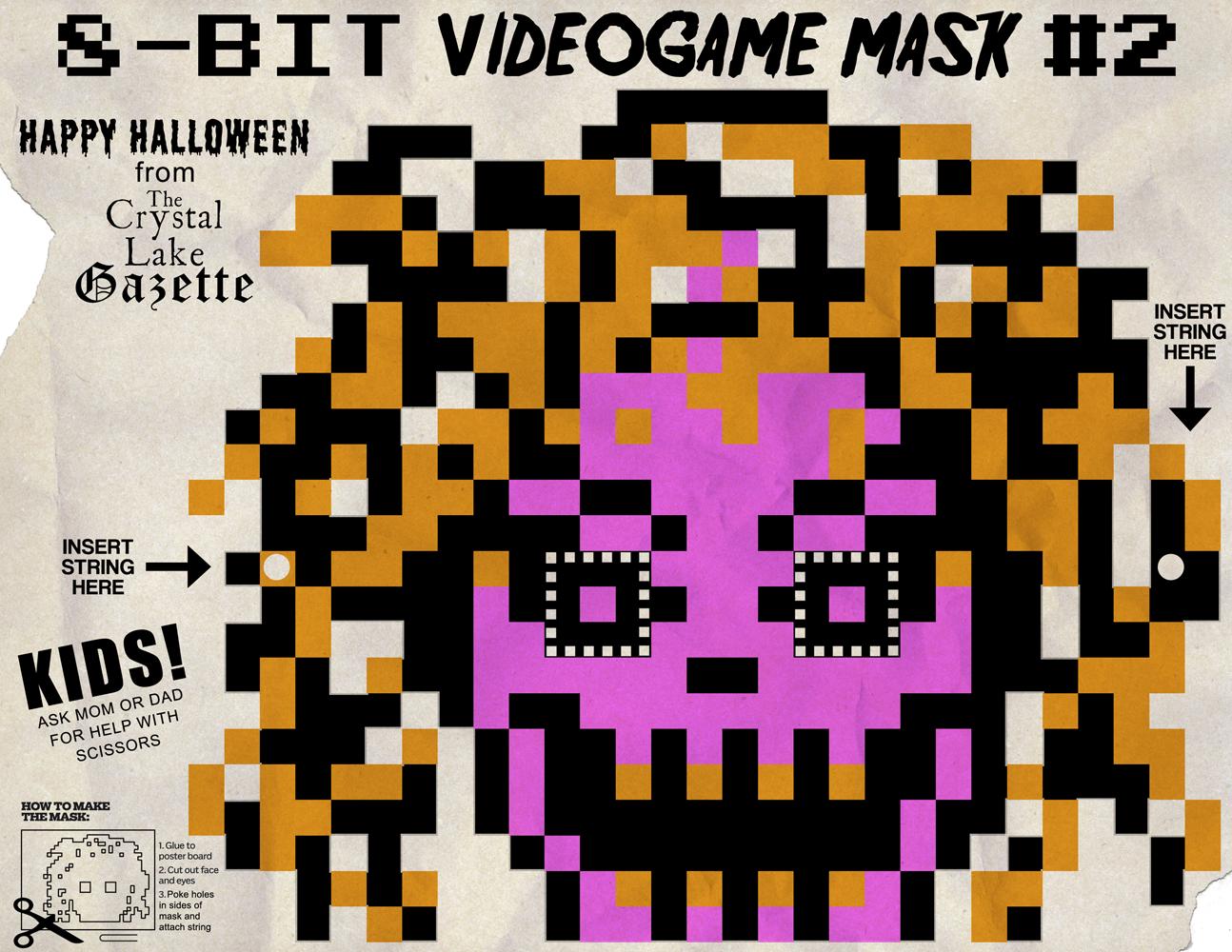 "8-Bit Videogame Halloween Cut Out Mask #2 ""Pamela"" – Jack's Attic"
